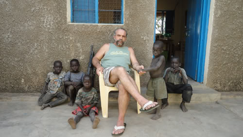 Childers with children from his Nimule orphanage.