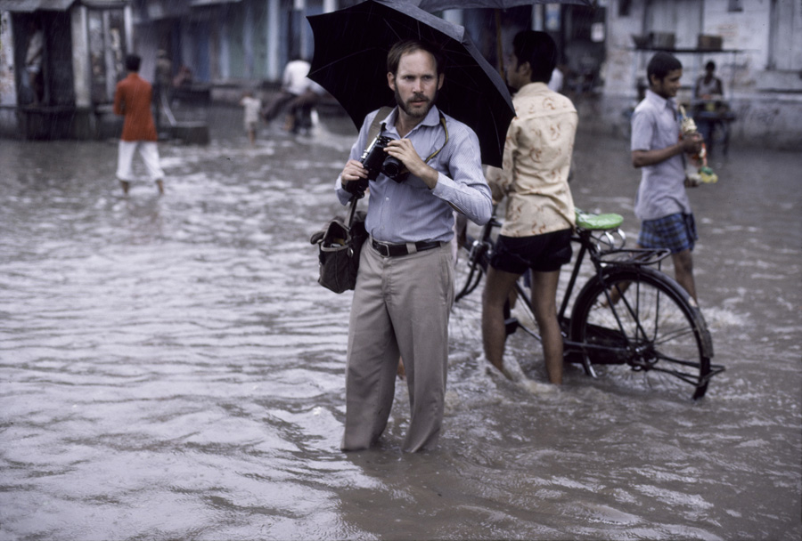 Steve photographing a monsoon in India.